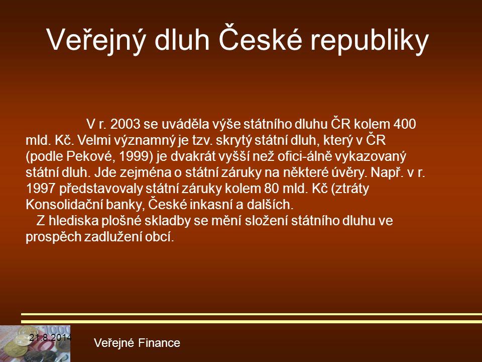 Veřejný dluh České republiky Veřejné Finance V r. 2003 se uváděla výše státního dluhu ČR kolem 400 mld. Kč. Velmi významný je tzv. skrytý státní dluh,