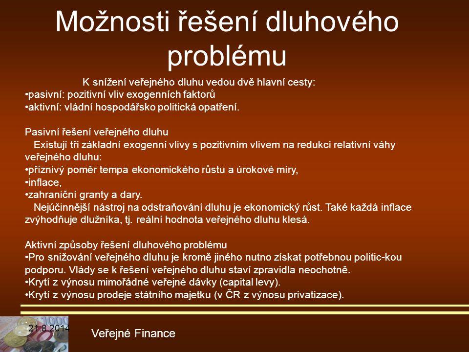 Možnosti řešení dluhového problému Veřejné Finance K snížení veřejného dluhu vedou dvě hlavní cesty: pasivní: pozitivní vliv exogenních faktorů aktivn