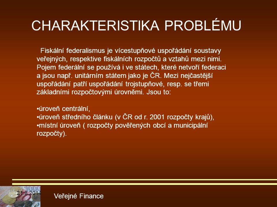 CHARAKTERISTIKA PROBLÉMU Veřejné Finance Fiskální federalismus je vícestupňové uspořádání soustavy veřejných, respektive fiskálních rozpočtů a vztahů
