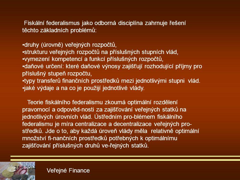 Veřejné Finance Fiskální federalismus jako odborná disciplína zahrnuje řešení těchto základních problémů: druhy (úrovně) veřejných rozpočtů, strukturu