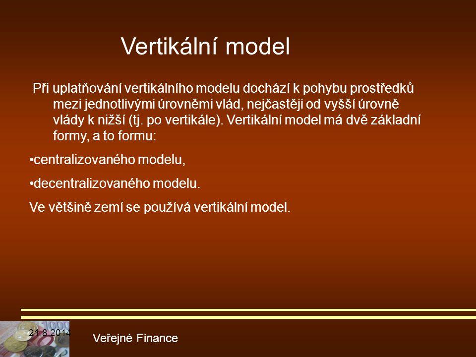 Veřejné Finance Při uplatňování vertikálního modelu dochází k pohybu prostředků mezi jednotlivými úrovněmi vlád, nejčastěji od vyšší úrovně vlády k ni