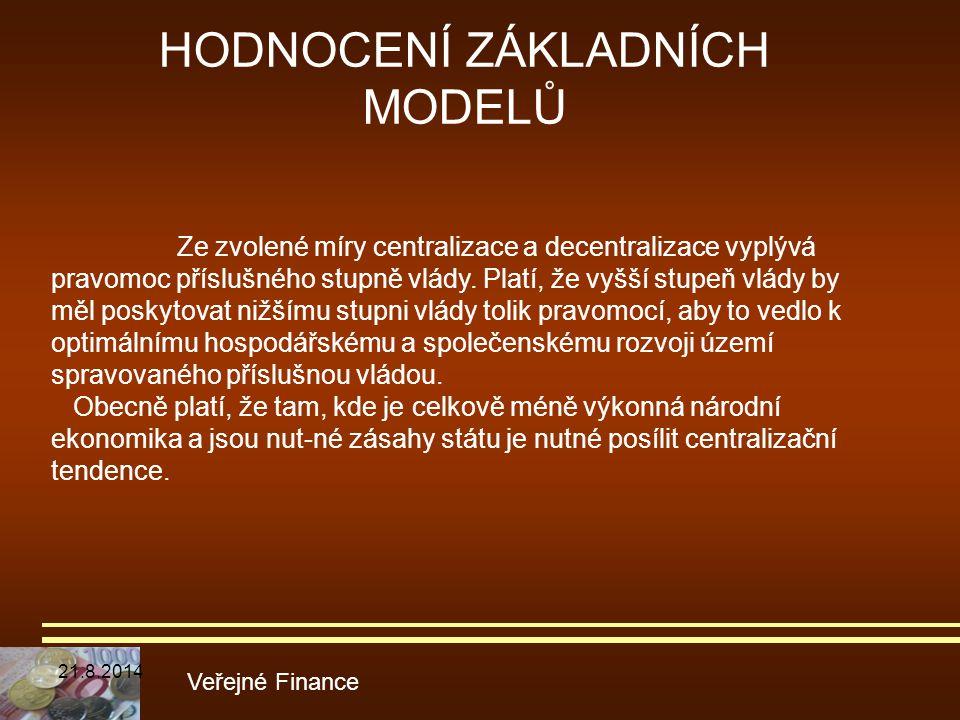 HODNOCENÍ ZÁKLADNÍCH MODELŮ Veřejné Finance Ze zvolené míry centralizace a decentralizace vyplývá pravomoc příslušného stupně vlády. Platí, že vyšší s
