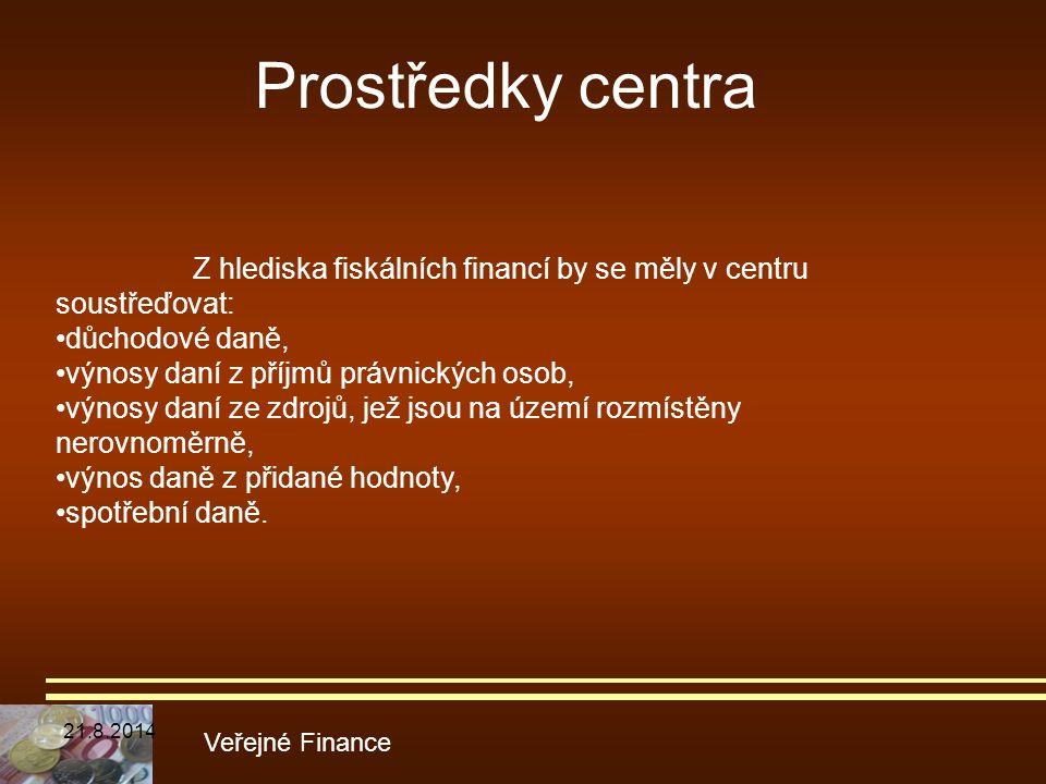 Prostředky centra Veřejné Finance Z hlediska fiskálních financí by se měly v centru soustřeďovat: důchodové daně, výnosy daní z příjmů právnických oso