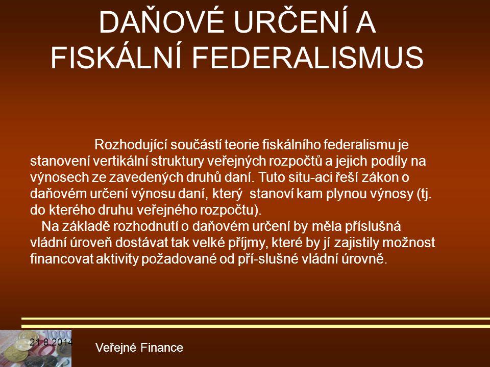 DAŇOVÉ URČENÍ A FISKÁLNÍ FEDERALISMUS Veřejné Finance Rozhodující součástí teorie fiskálního federalismu je stanovení vertikální struktury veřejných r