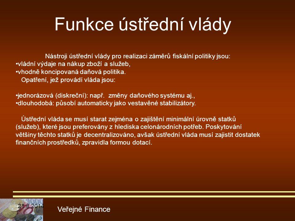 Funkce ústřední vlády Veřejné Finance Nástroji ústřední vlády pro realizaci záměrů fiskální politiky jsou: vládní výdaje na nákup zboží a služeb, vhod