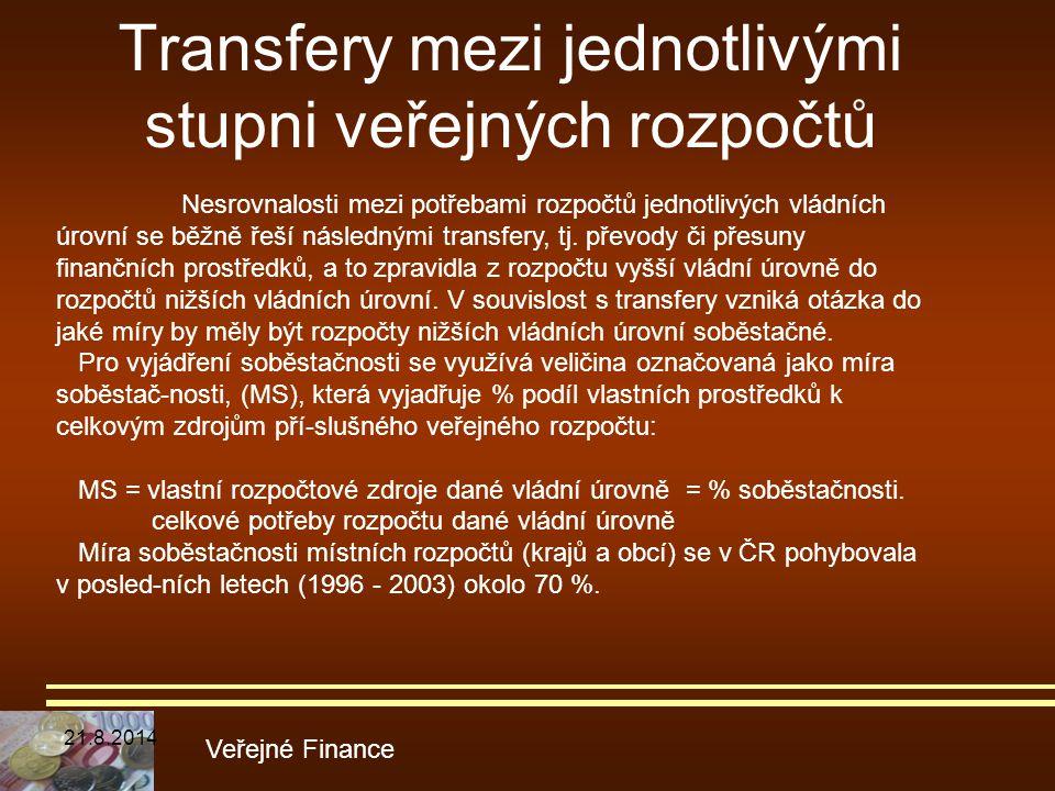 Transfery mezi jednotlivými stupni veřejných rozpočtů Veřejné Finance Nesrovnalosti mezi potřebami rozpočtů jednotlivých vládních úrovní se běžně řeší