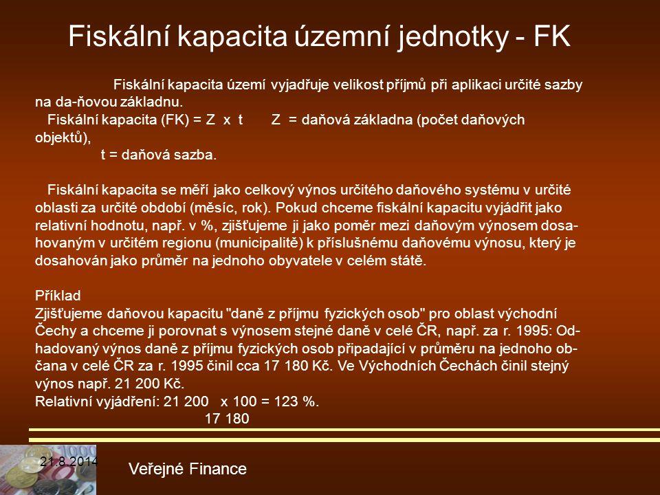 Fiskální kapacita územní jednotky - FK Veřejné Finance Fiskální kapacita území vyjadřuje velikost příjmů při aplikaci určité sazby na da-ňovou základn