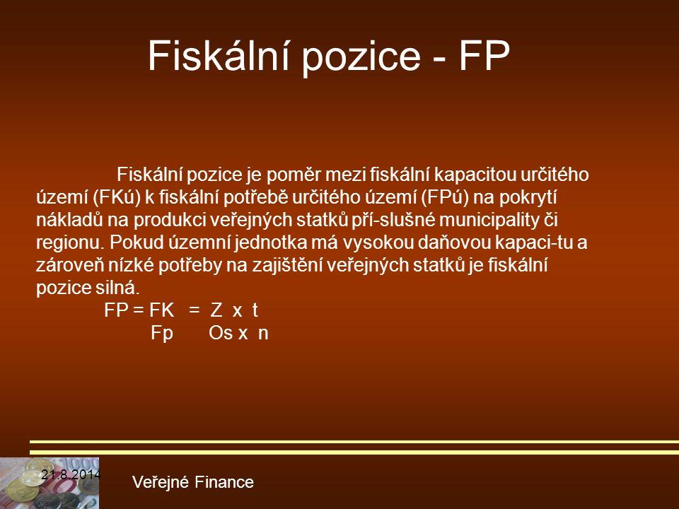 Fiskální pozice - FP Veřejné Finance Fiskální pozice je poměr mezi fiskální kapacitou určitého území (FKú) k fiskální potřebě určitého území (FPú) na