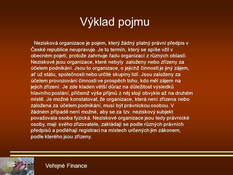 Výklad pojmu Veřejné Finance Nezisková organizace je pojem, který žádný platný právní předpis v České republice neupravuje. Je to termín, který se spí