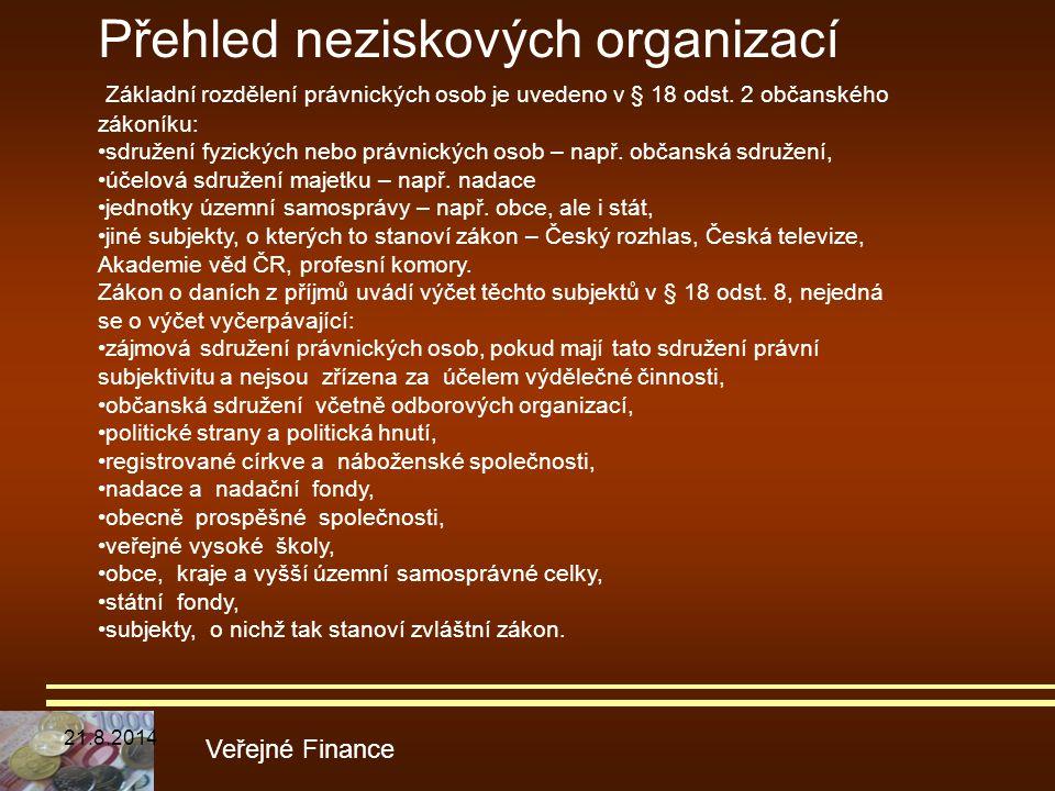 Veřejné Finance Základní rozdělení právnických osob je uvedeno v § 18 odst. 2 občanského zákoníku: sdružení fyzických nebo právnických osob – např. ob