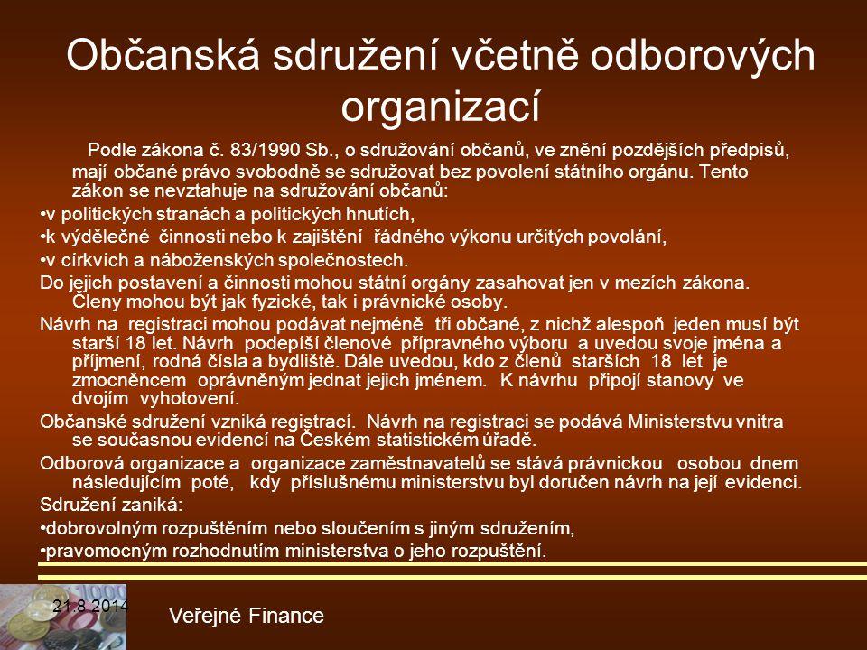 Podle zákona č. 83/1990 Sb., o sdružování občanů, ve znění pozdějších předpisů, mají občané právo svobodně se sdružovat bez povolení státního orgánu.