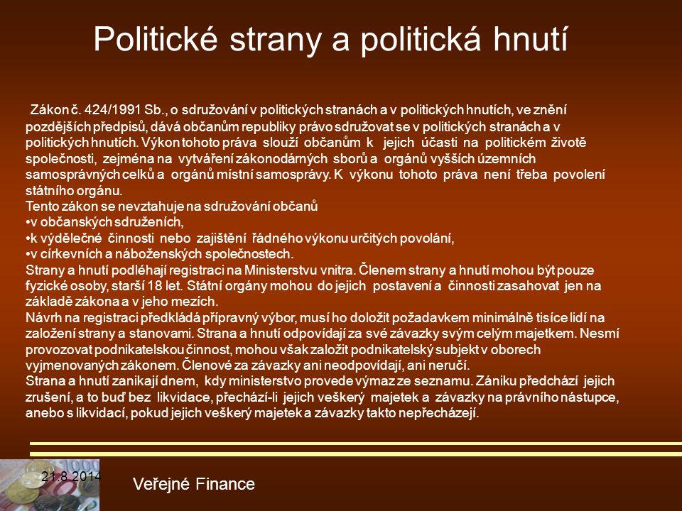 Politické strany a politická hnutí Veřejné Finance Zákon č. 424/1991 Sb., o sdružování v politických stranách a v politických hnutích, ve znění pozděj