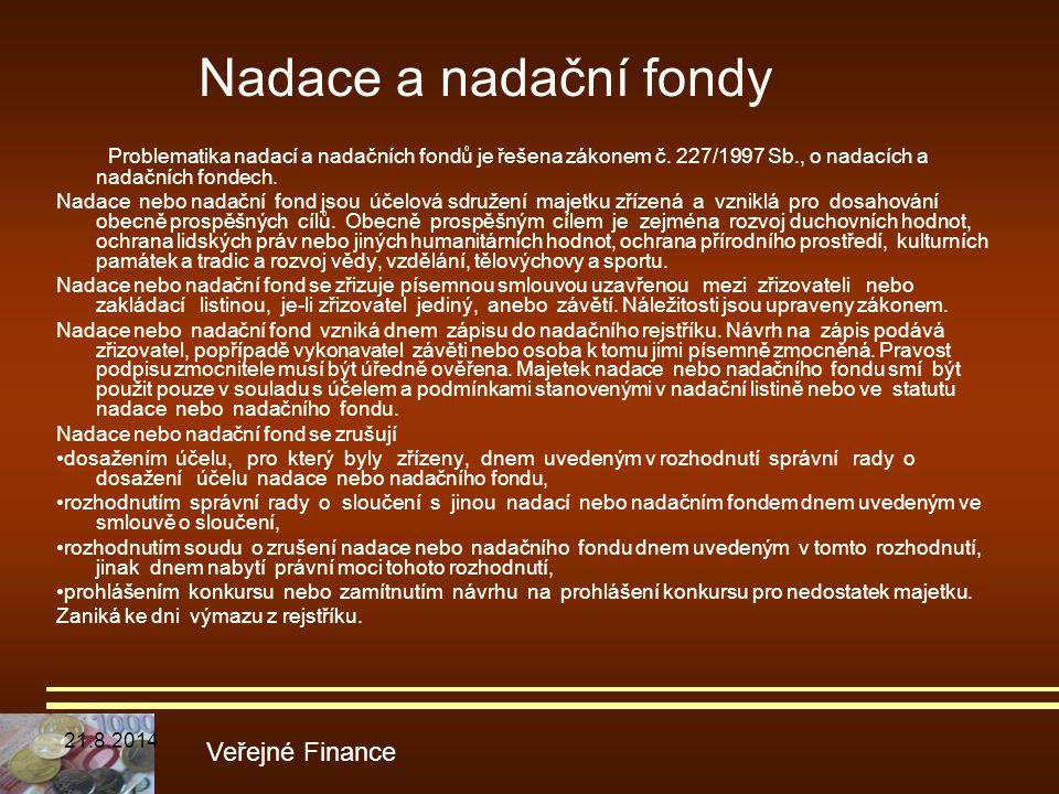 Problematika nadací a nadačních fondů je řešena zákonem č. 227/1997 Sb., o nadacích a nadačních fondech. Nadace nebo nadační fond jsou účelová sdružen