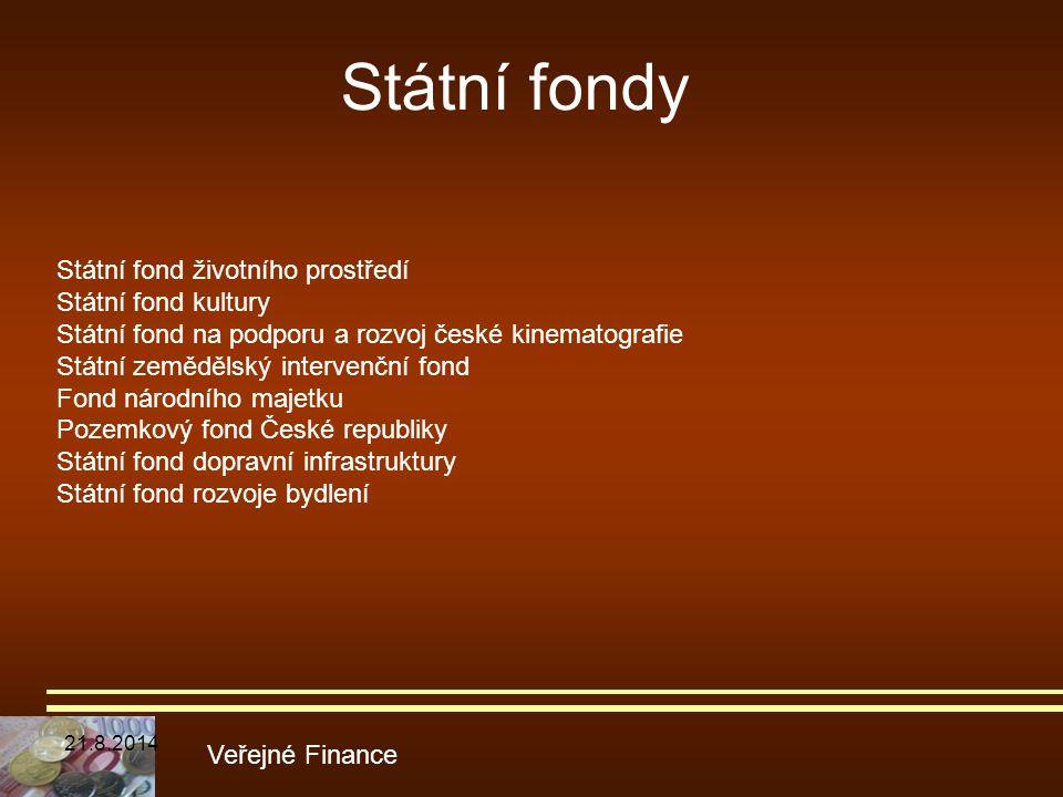 Státní fondy Veřejné Finance Státní fond životního prostředí Státní fond kultury Státní fond na podporu a rozvoj české kinematografie Státní zemědělsk
