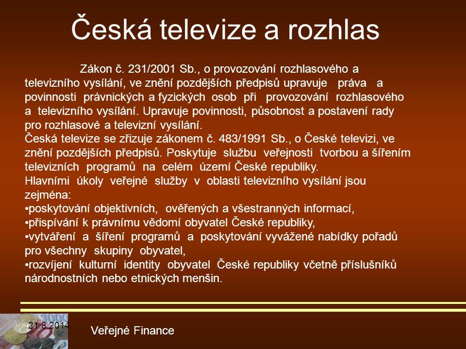 Česká televize a rozhlas Veřejné Finance Zákon č. 231/2001 Sb., o provozování rozhlasového a televizního vysílání, ve znění pozdějších předpisů upravu