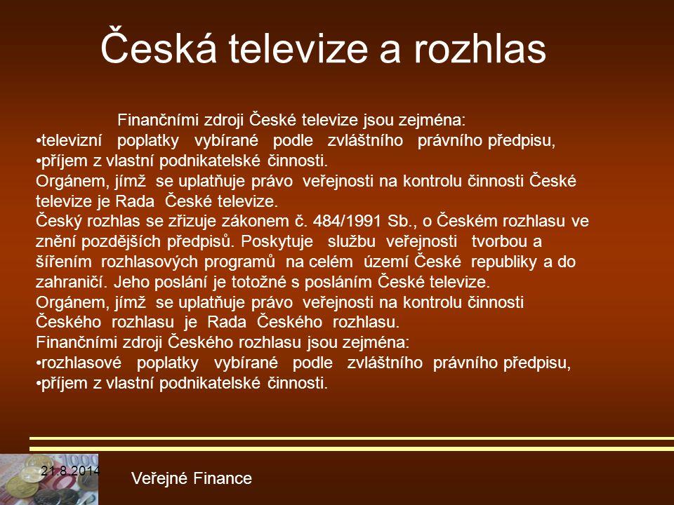 Veřejné Finance Finančními zdroji České televize jsou zejména: televizní poplatky vybírané podle zvláštního právního předpisu, příjem z vlastní podnik