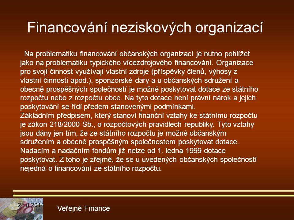 Financování neziskových organizací Veřejné Finance Na problematiku financování občanských organizací je nutno pohlížet jako na problematiku typického
