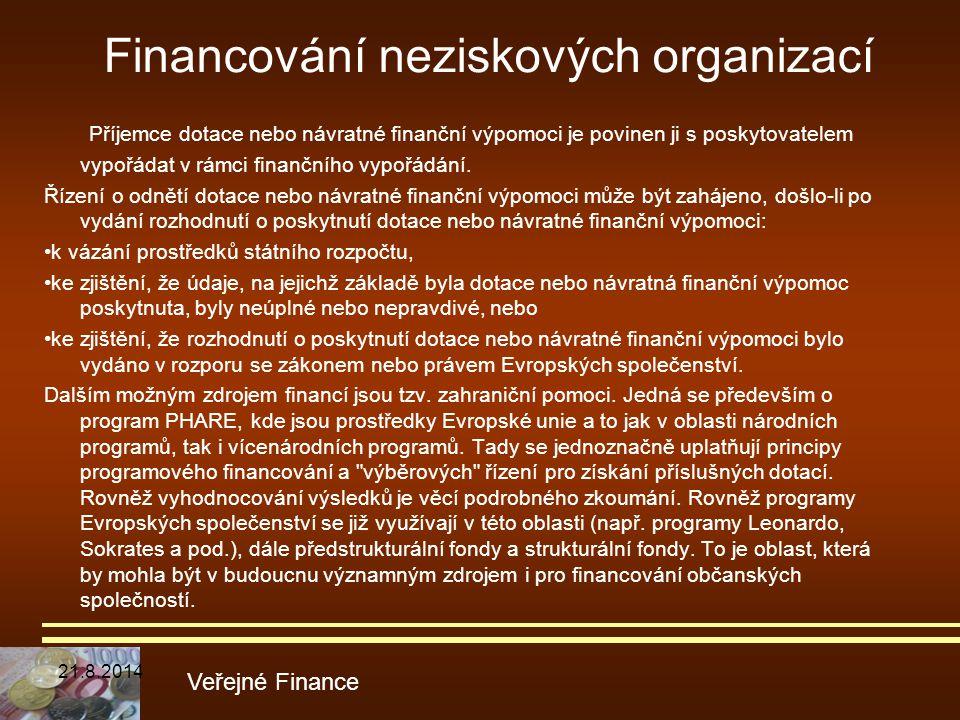 Financování neziskových organizací Příjemce dotace nebo návratné finanční výpomoci je povinen ji s poskytovatelem vypořádat v rámci finančního vypořád