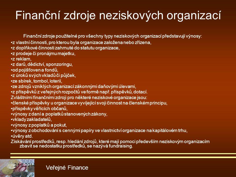 Finanční zdroje použitelné pro všechny typy neziskových organizací představují výnosy: z vlastní činnosti, pro kterou byla organizace založena nebo zř