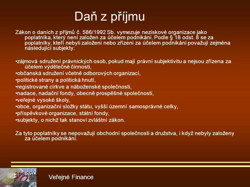 Zákon o daních z příjmů č. 586/1992 Sb. vymezuje neziskové organizace jako poplatníka, který není založen za účelem podnikání. Podle § 18 odst. 8 se z