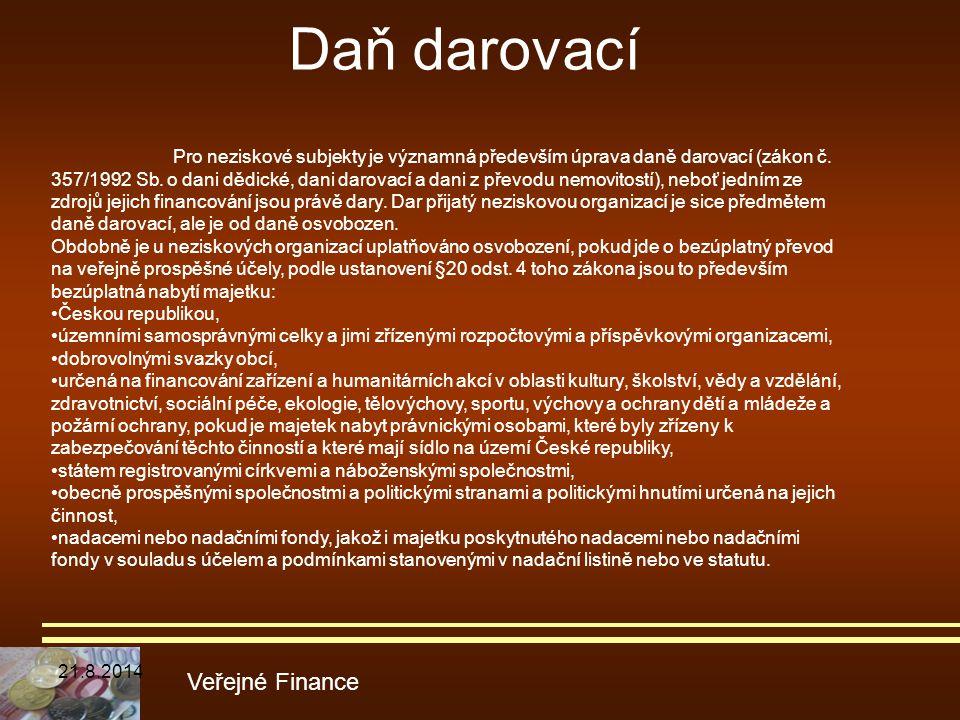 Daň darovací Veřejné Finance Pro neziskové subjekty je významná především úprava daně darovací (zákon č. 357/1992 Sb. o dani dědické, dani darovací a