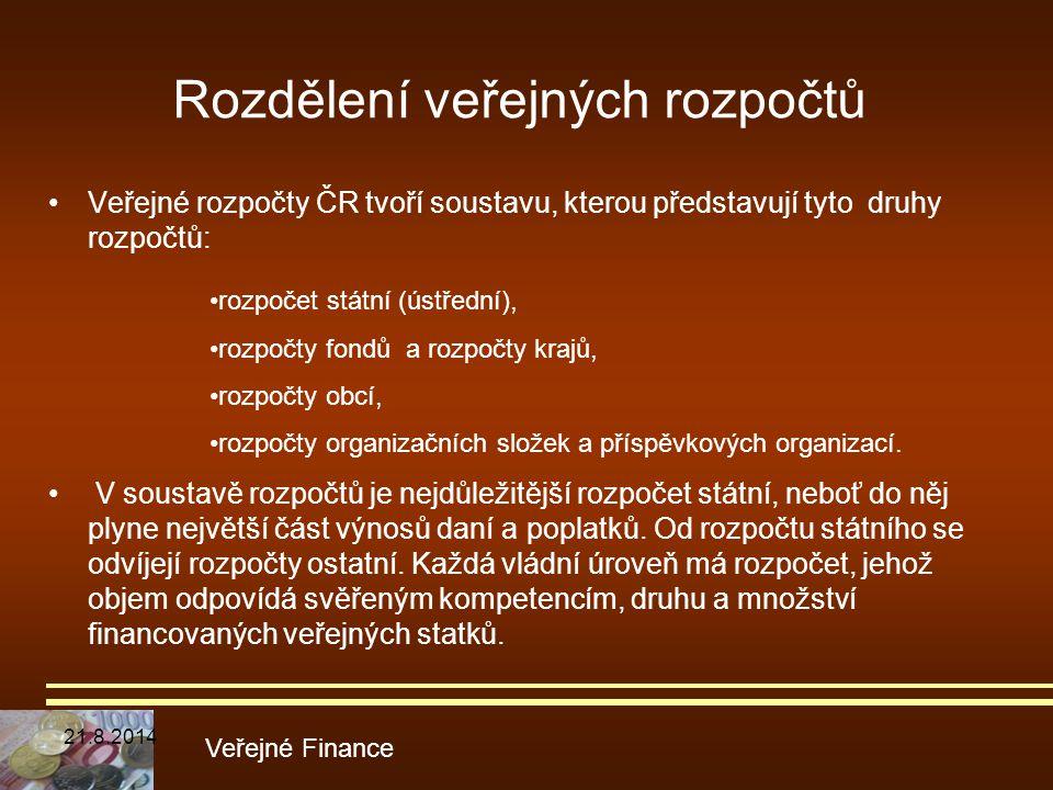 Rozdělení veřejných rozpočtů Veřejné rozpočty ČR tvoří soustavu, kterou představují tyto druhy rozpočtů: Veřejné Finance rozpočet státní (ústřední), r