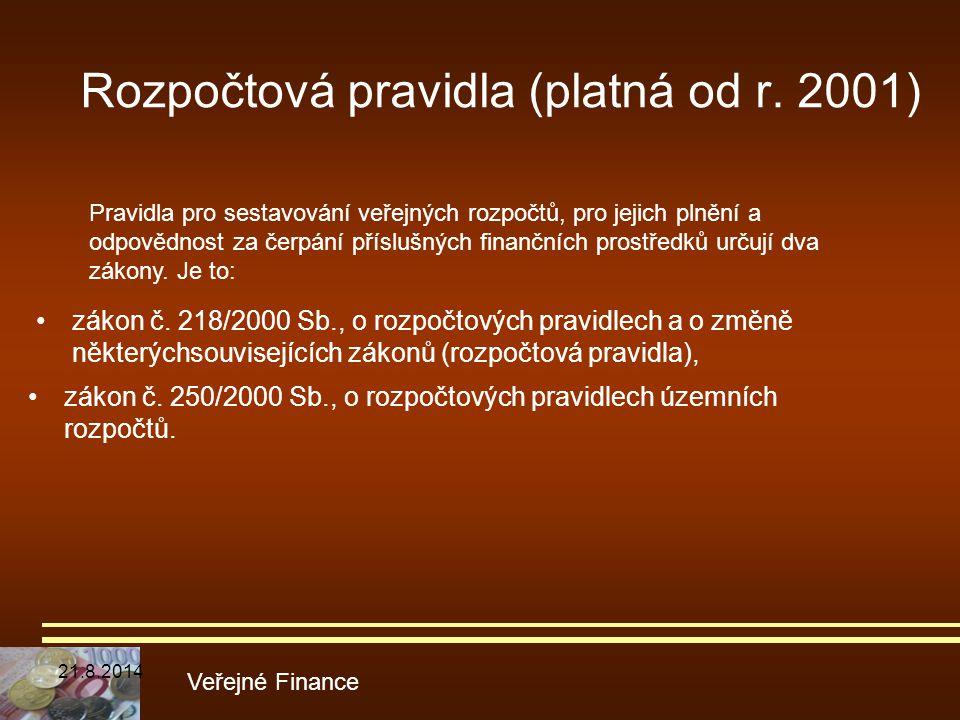 Rozpočtová pravidla (platná od r. 2001) zákon č. 250/2000 Sb., o rozpočtových pravidlech územních rozpočtů. Veřejné Finance Pravidla pro sestavování v