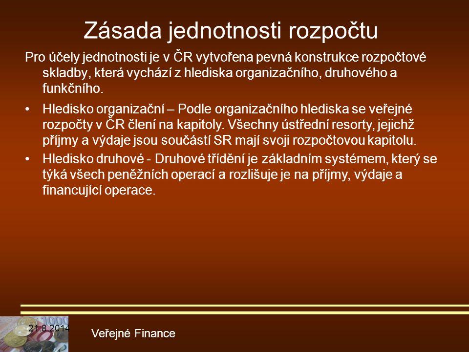 Zásada jednotnosti rozpočtu Pro účely jednotnosti je v ČR vytvořena pevná konstrukce rozpočtové skladby, která vychází z hlediska organizačního, druho