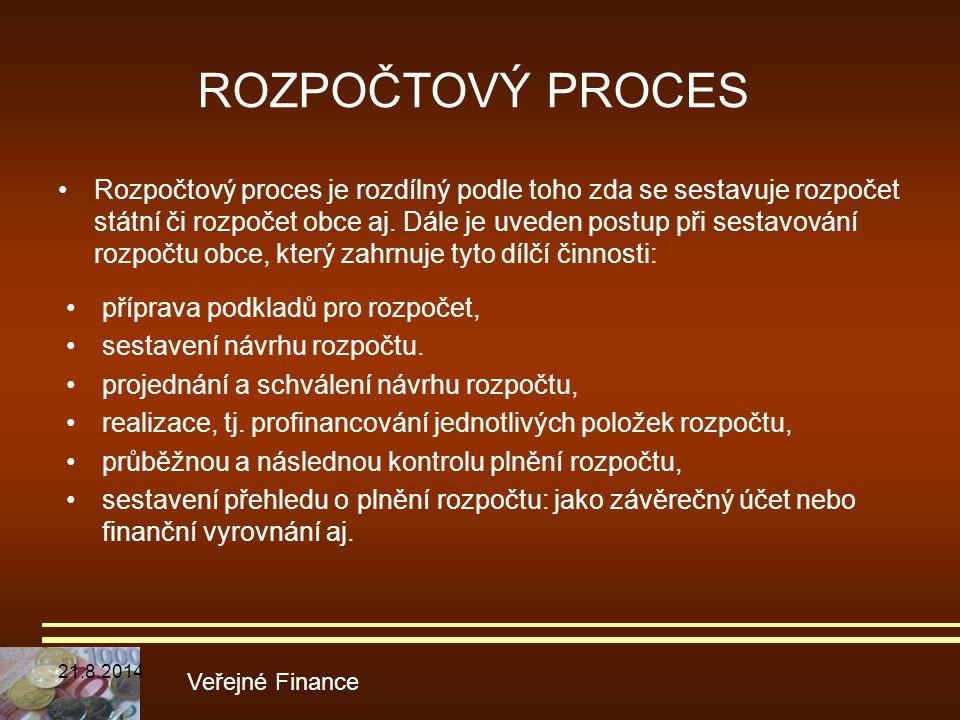 ROZPOČTOVÝ PROCES Rozpočtový proces je rozdílný podle toho zda se sestavuje rozpočet státní či rozpočet obce aj. Dále je uveden postup při sestavování