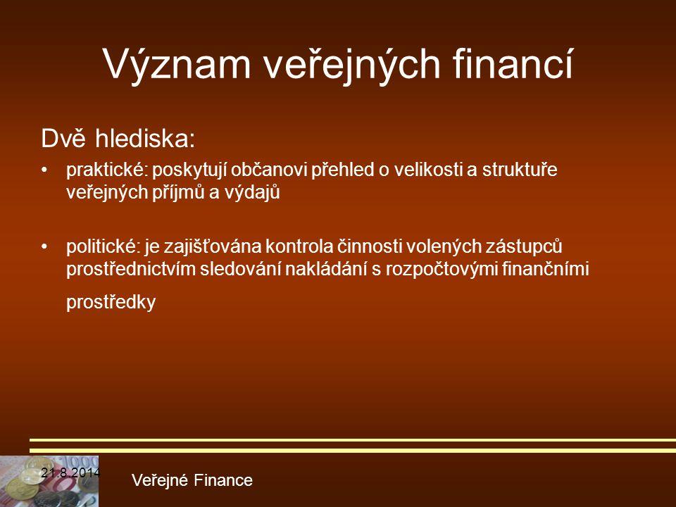 Význam veřejných financí Dvě hlediska: praktické: poskytují občanovi přehled o velikosti a struktuře veřejných příjmů a výdajů politické: je zajišťová