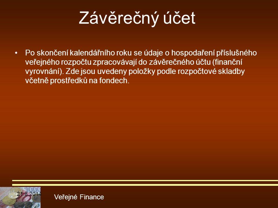 Závěrečný účet Po skončení kalendářního roku se údaje o hospodaření příslušného veřejného rozpočtu zpracovávají do závěrečného účtu (finanční vyrovnán