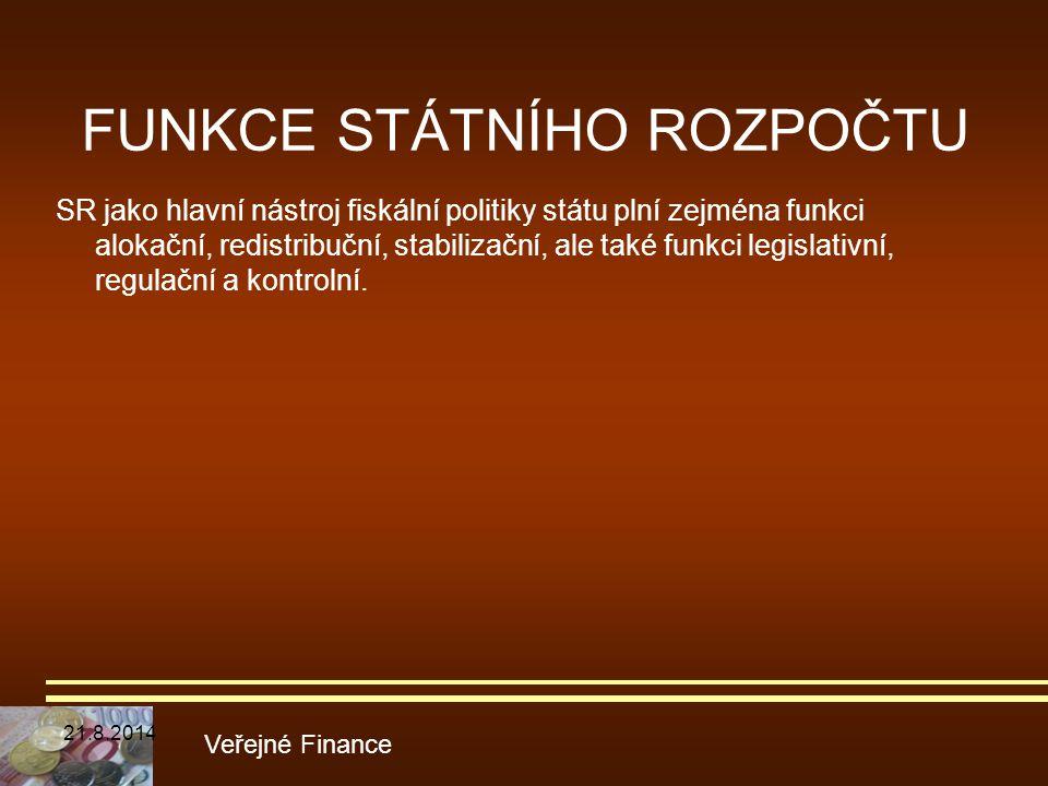 FUNKCE STÁTNÍHO ROZPOČTU SR jako hlavní nástroj fiskální politiky státu plní zejména funkci alokační, redistribuční, stabilizační, ale také funkci leg