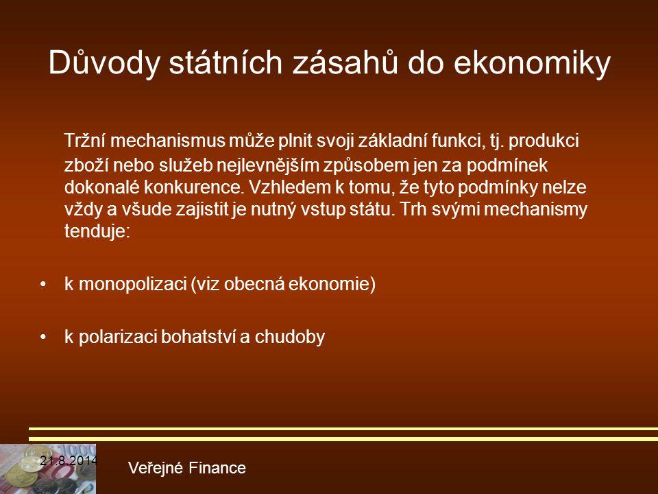 Důvody státních zásahů do ekonomiky Tržní mechanismus může plnit svoji základní funkci, tj. produkci zboží nebo služeb nejlevnějším způsobem jen za po
