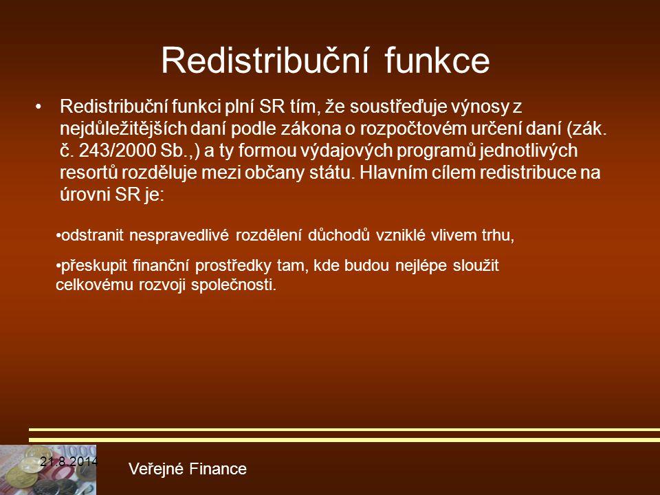 Redistribuční funkce Redistribuční funkci plní SR tím, že soustřeďuje výnosy z nejdůležitějších daní podle zákona o rozpočtovém určení daní (zák. č. 2
