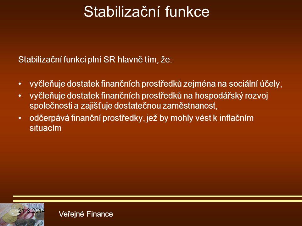 Stabilizační funkce Stabilizační funkci plní SR hlavně tím, že: vyčleňuje dostatek finančních prostředků zejména na sociální účely, vyčleňuje dostatek