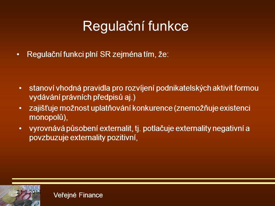 Regulační funkce Regulační funkci plní SR zejména tím, že: Veřejné Finance stanoví vhodná pravidla pro rozvíjení podnikatelských aktivit formou vydává