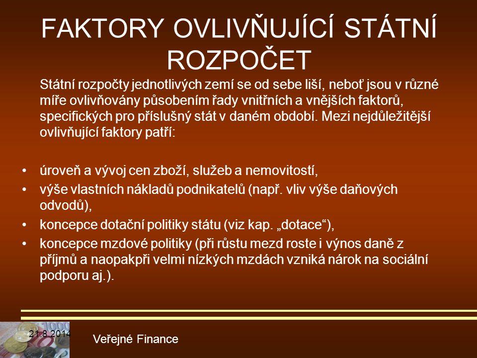 FAKTORY OVLIVŇUJÍCÍ STÁTNÍ ROZPOČET Státní rozpočty jednotlivých zemí se od sebe liší, neboť jsou v různé míře ovlivňovány působením řady vnitřních a
