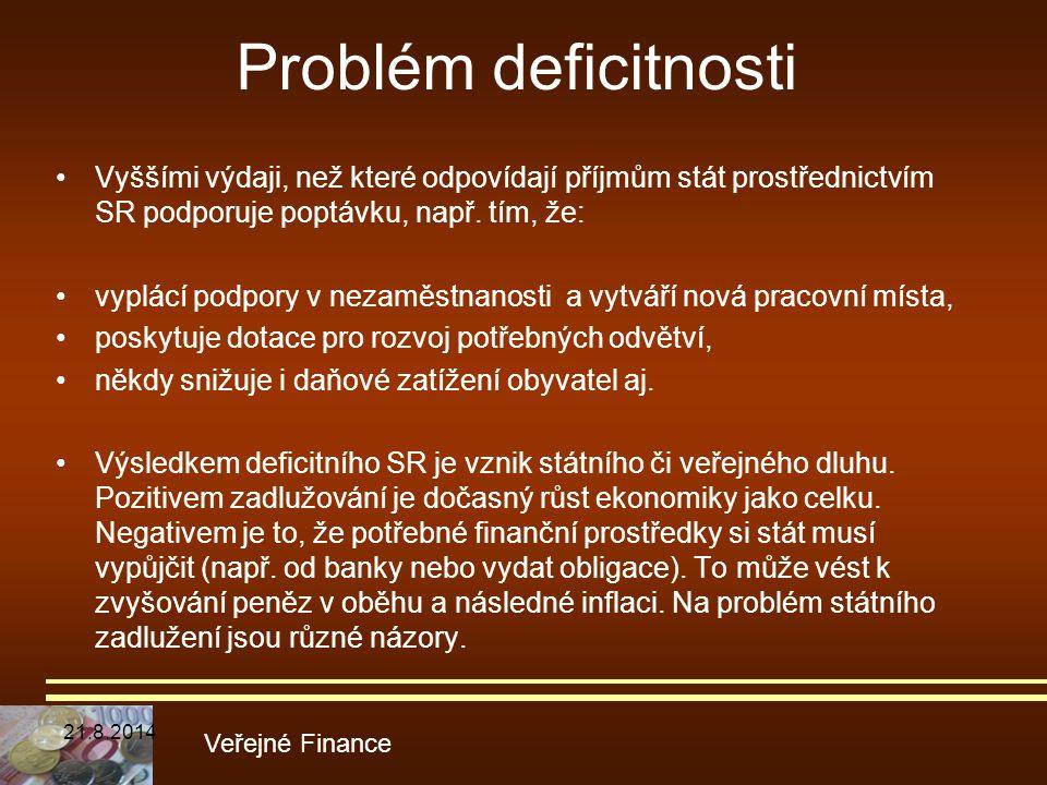 Problém deficitnosti Vyššími výdaji, než které odpovídají příjmům stát prostřednictvím SR podporuje poptávku, např. tím, že: vyplácí podpory v nezaměs