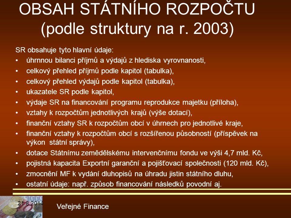 OBSAH STÁTNÍHO ROZPOČTU (podle struktury na r. 2003) SR obsahuje tyto hlavní údaje: úhrnnou bilanci příjmů a výdajů z hlediska vyrovnanosti, celkový p
