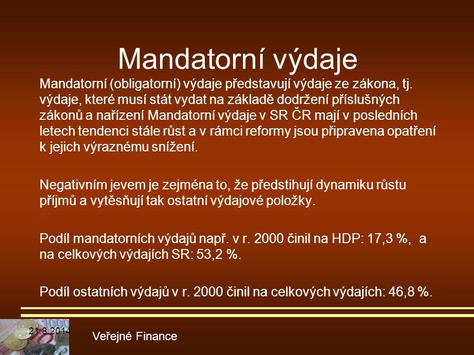Mandatorní výdaje Mandatorní (obligatorní) výdaje představují výdaje ze zákona, tj. výdaje, které musí stát vydat na základě dodržení příslušných záko