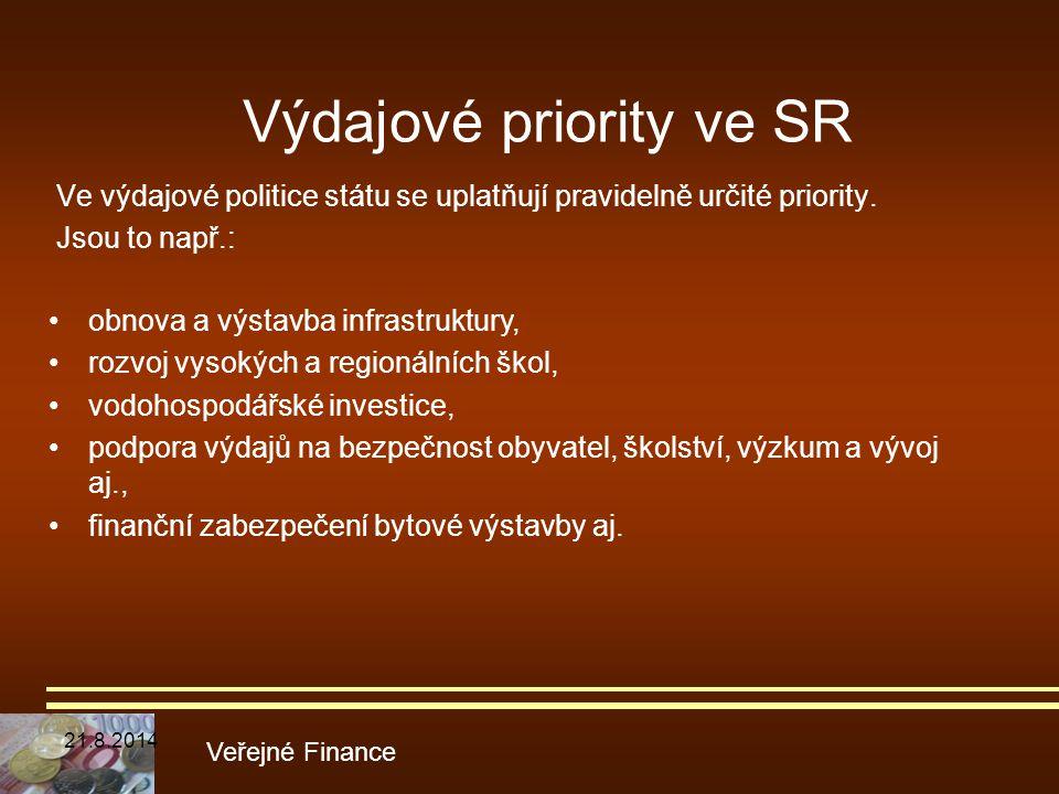 Ve výdajové politice státu se uplatňují pravidelně určité priority. Jsou to např.: Veřejné Finance obnova a výstavba infrastruktury, rozvoj vysokých a