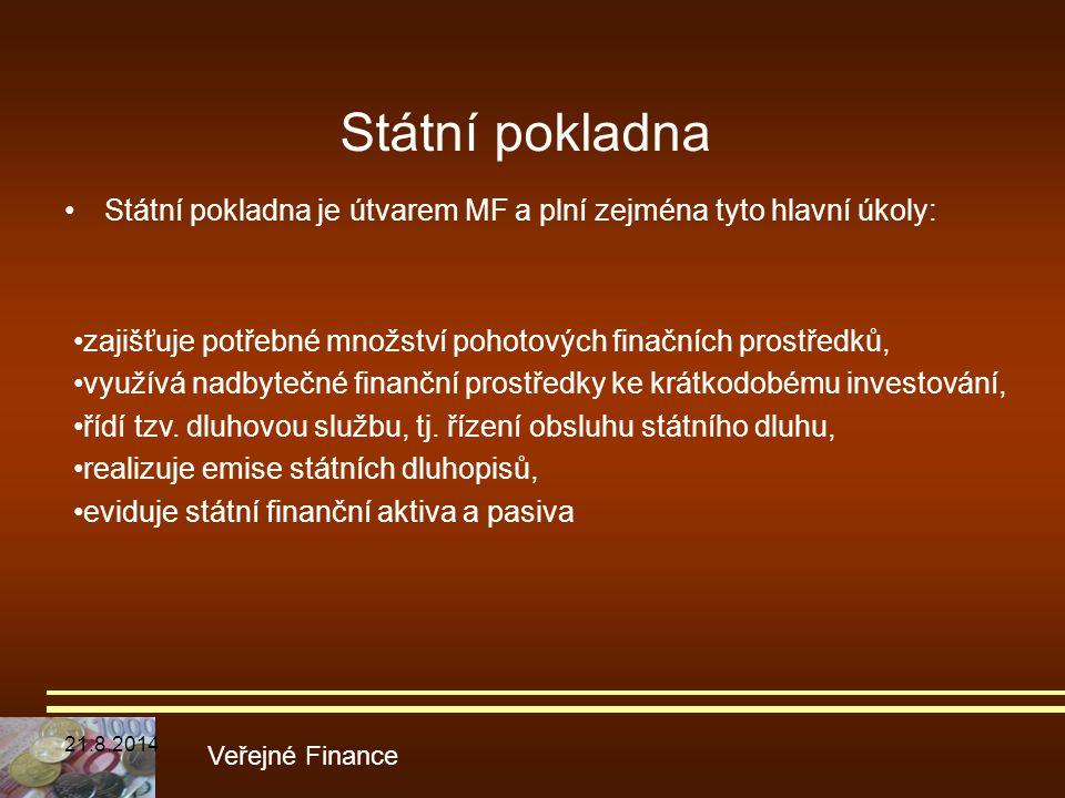 Státní pokladna Státní pokladna je útvarem MF a plní zejména tyto hlavní úkoly: Veřejné Finance zajišťuje potřebné množství pohotových finačních prost
