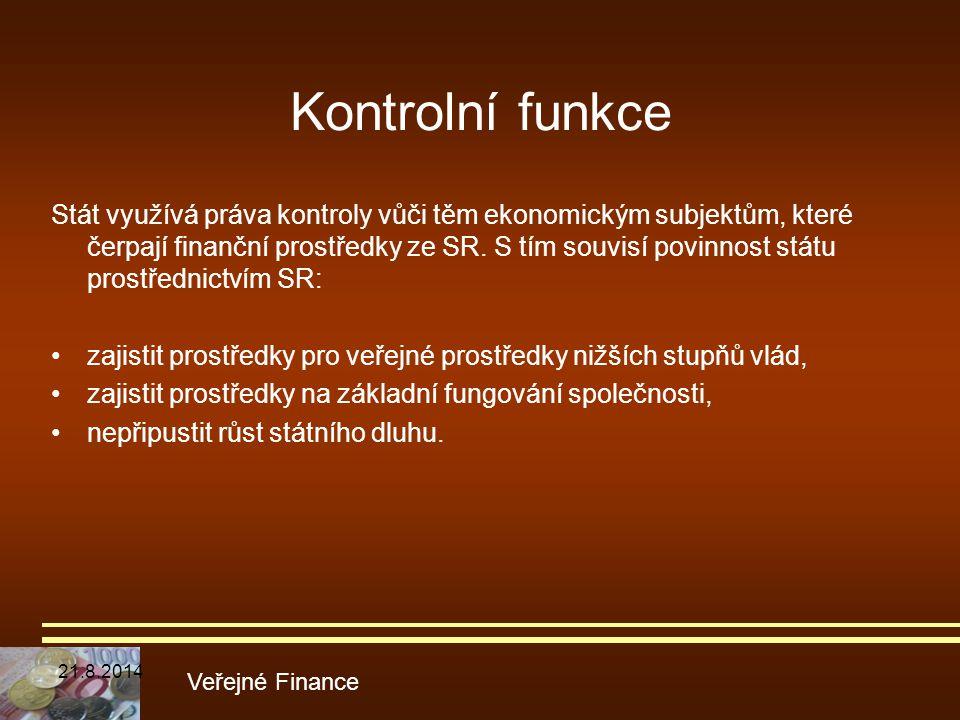 Kontrolní funkce Stát využívá práva kontroly vůči těm ekonomickým subjektům, které čerpají finanční prostředky ze SR. S tím souvisí povinnost státu pr