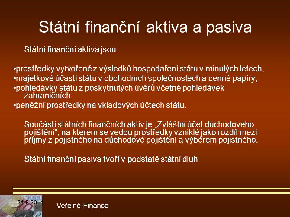 Státní finanční aktiva a pasiva Státní finanční aktiva jsou: prostředky vytvořené z výsledků hospodaření státu v minulých letech, majetkové účasti stá