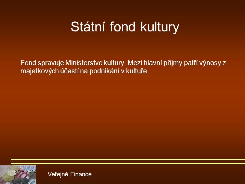 Fond spravuje Ministerstvo kultury. Mezi hlavní příjmy patří výnosy z majetkových účastí na podnikání v kultuře. Veřejné Finance Státní fond kultury 2