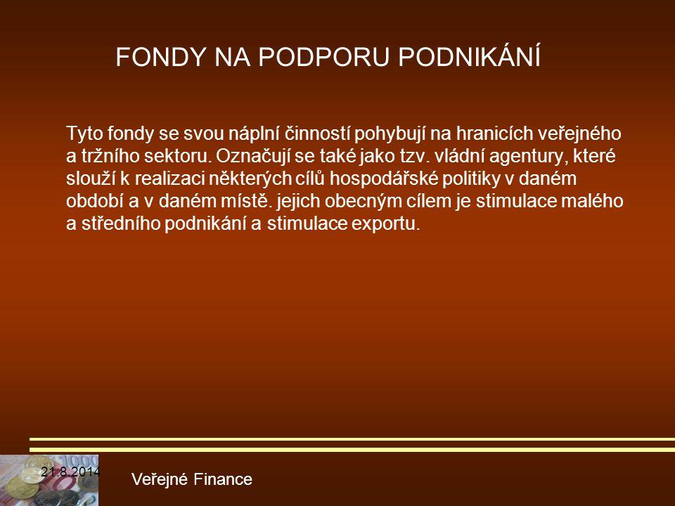 FONDY NA PODPORU PODNIKÁNÍ Tyto fondy se svou náplní činností pohybují na hranicích veřejného a tržního sektoru. Označují se také jako tzv. vládní age