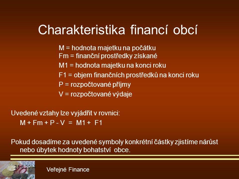 Charakteristika financí obcí M = hodnota majetku na počátku Fm = finanční prostředky získané M1 = hodnota majetku na konci roku F1 = objem finančních
