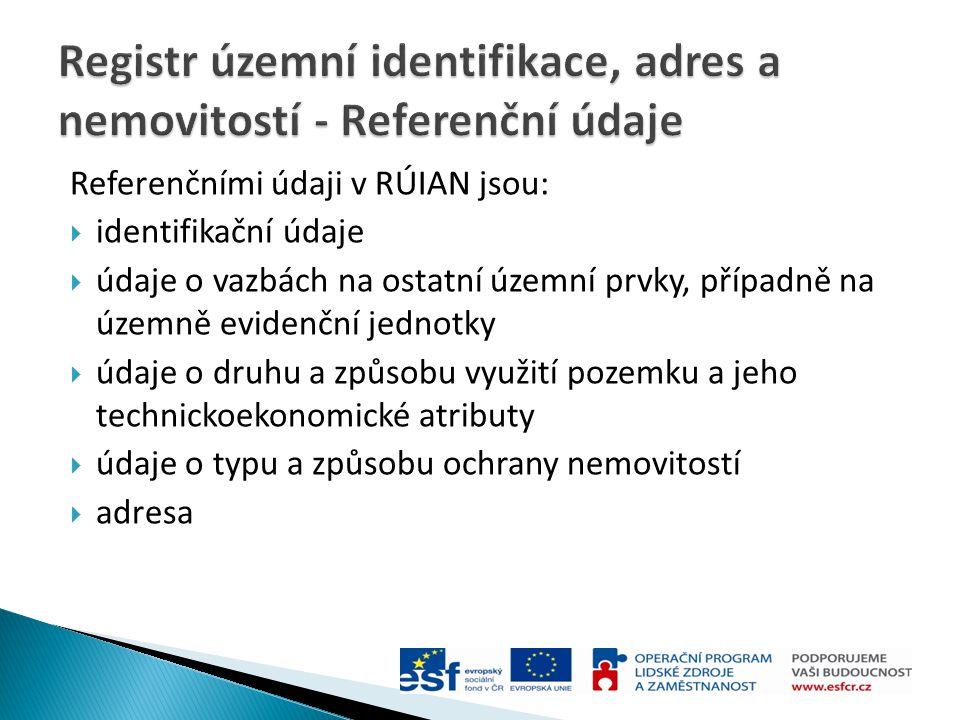 Referenčními údaji v RÚIAN jsou:  identifikační údaje  údaje o vazbách na ostatní územní prvky, případně na územně evidenční jednotky  údaje o druh