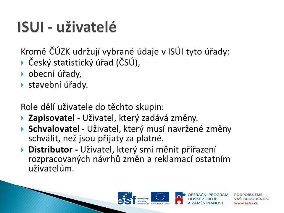 Kromě ČÚZK udržují vybrané údaje v ISÚI tyto úřady:  Český statistický úřad (ČSÚ),  obecní úřady,  stavební úřady. Role dělí uživatele do těchto sk