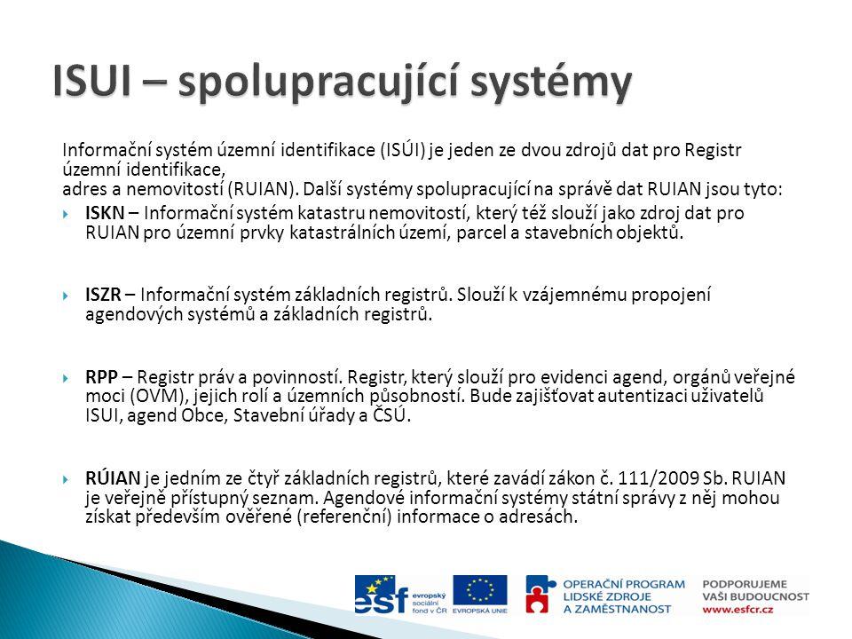 Informační systém územní identifikace (ISÚI) je jeden ze dvou zdrojů dat pro Registr územní identifikace, adres a nemovitostí (RUIAN). Další systémy s